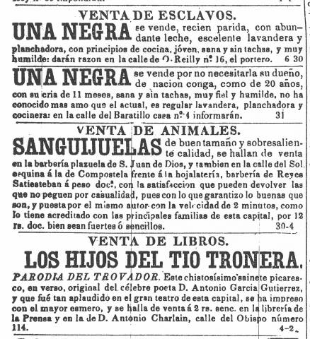 venta de esclavos: asi se publicaban