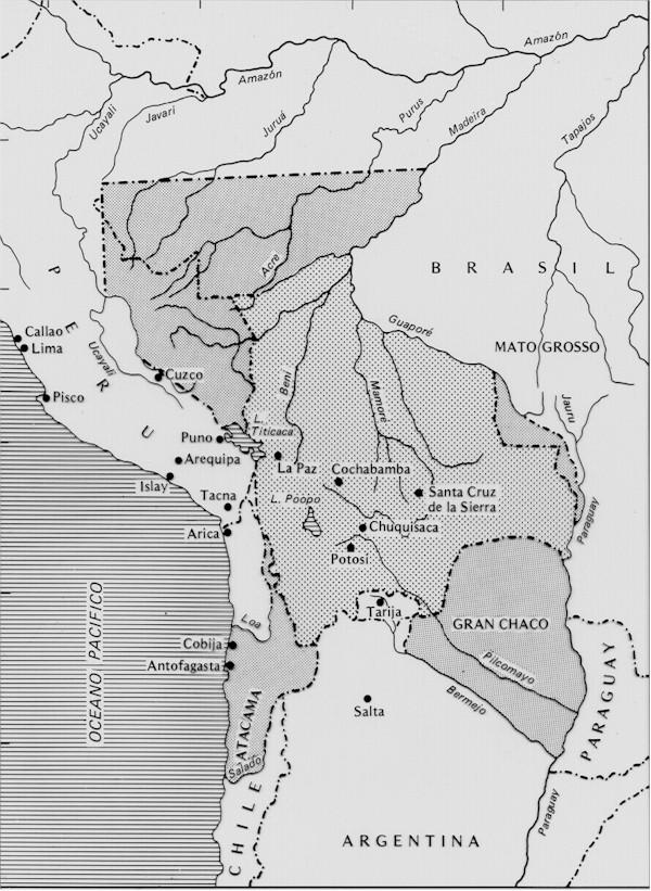 mapa de bolivia con la que nace,y su division politica.?